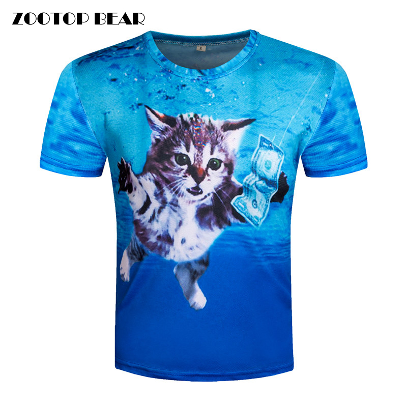 3d t shirt printed top tee men cat t shirt short sleeve for Best online tee shirt printing
