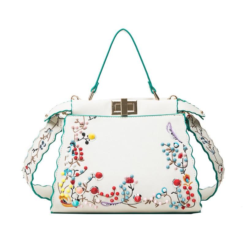 Luxury Handbag Women Bag Designer Fashion Flower Embroidery Peekaboo Shoulder Bags Female Tote handbag with Colorful Rivets 2018