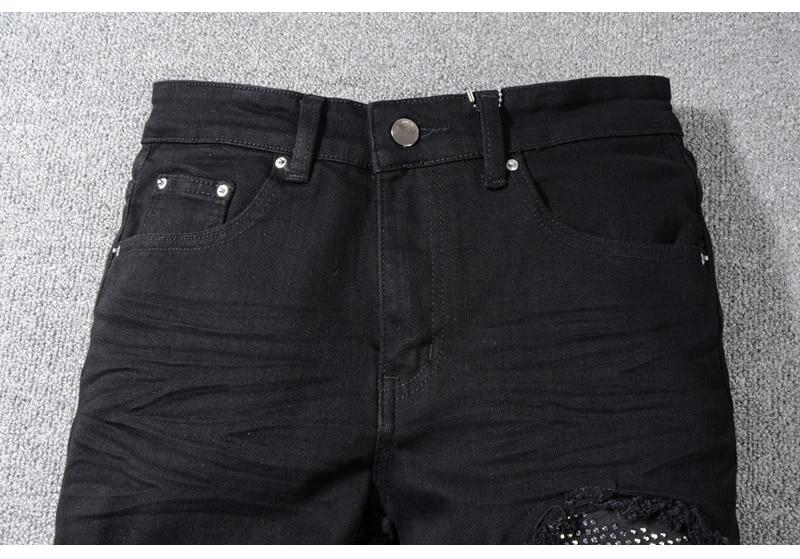 Royles Men's skinny black ripped jeans 3