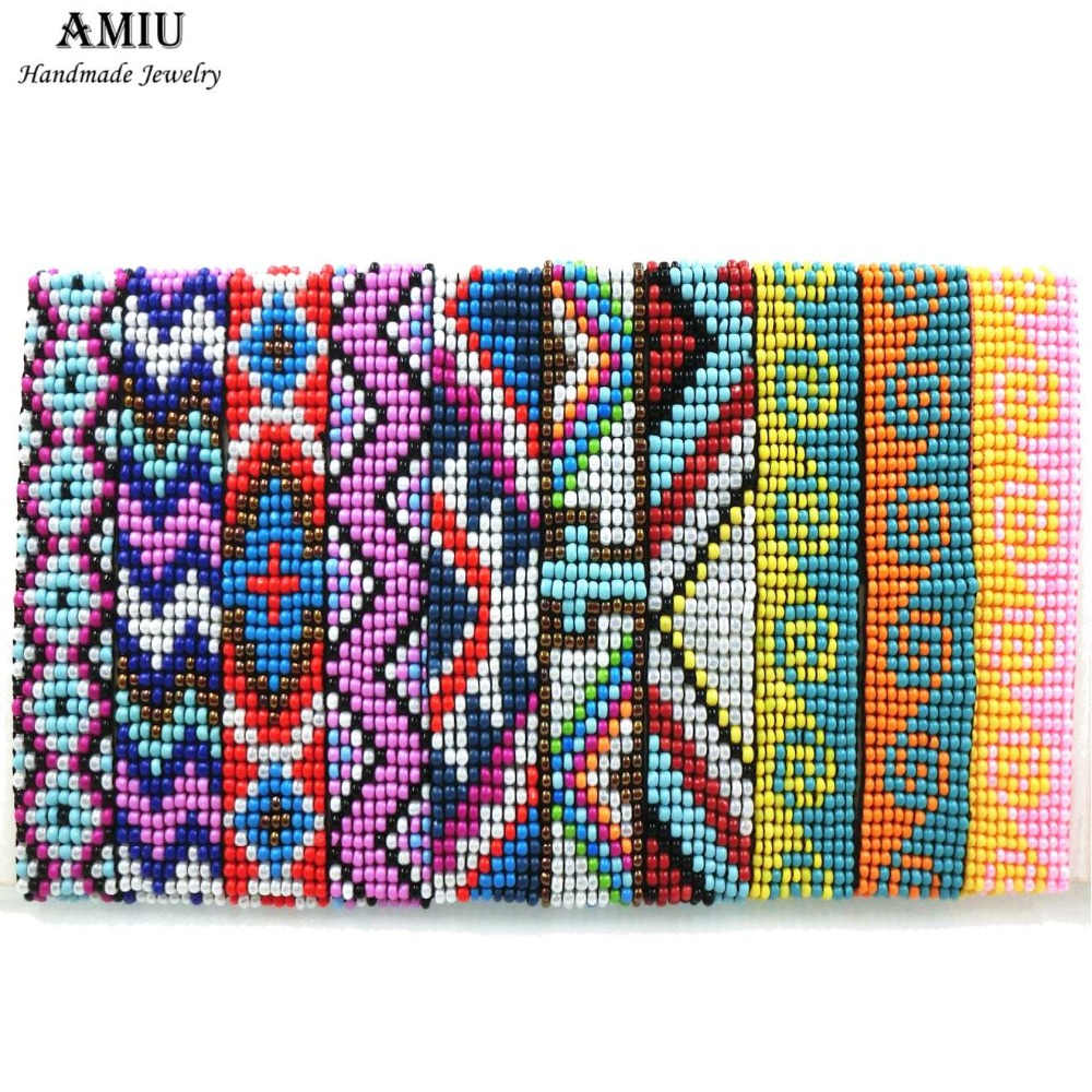 AMIU Handmade Friendship Bracelets Hippy Seed Beads Cross Rope String Handmade Bracelet Brazilian For Women Men Dropshipping