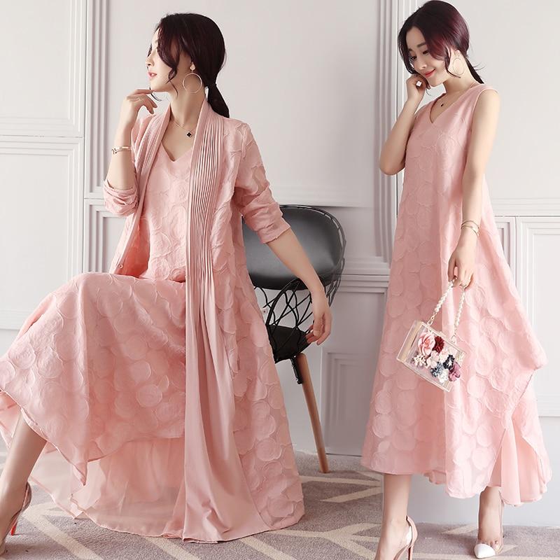 2017 новый женщины dress весна лето рукавов v-образным вырезом принцесса розовый платья 2-х частей устанавливает одежды + dress elegant lady длинные платья