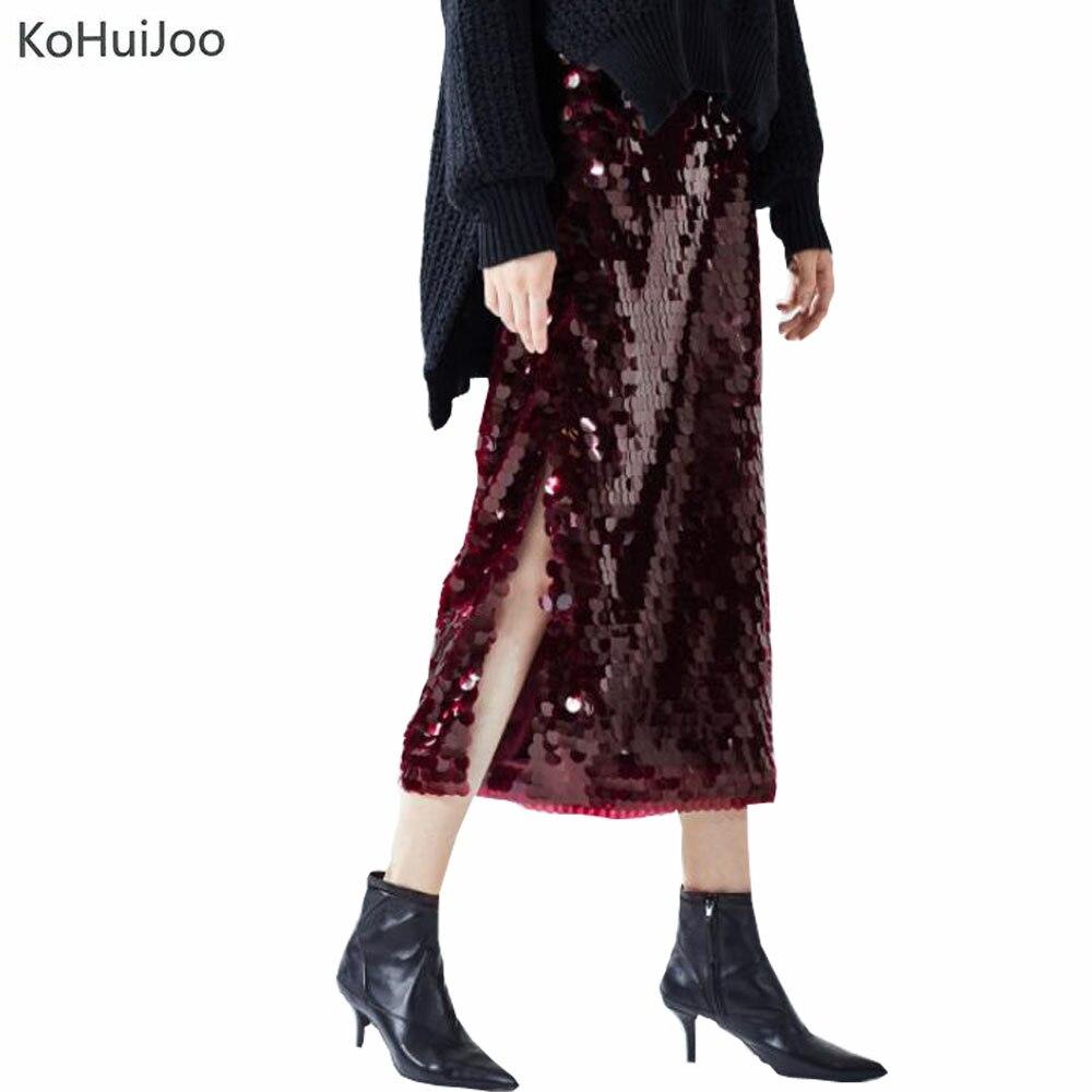 KoHuiJoo 2019 printemps femmes longue jupe à paillettes côté fente élégante piste jupes taille élastique mode fête Club jupe vin rouge