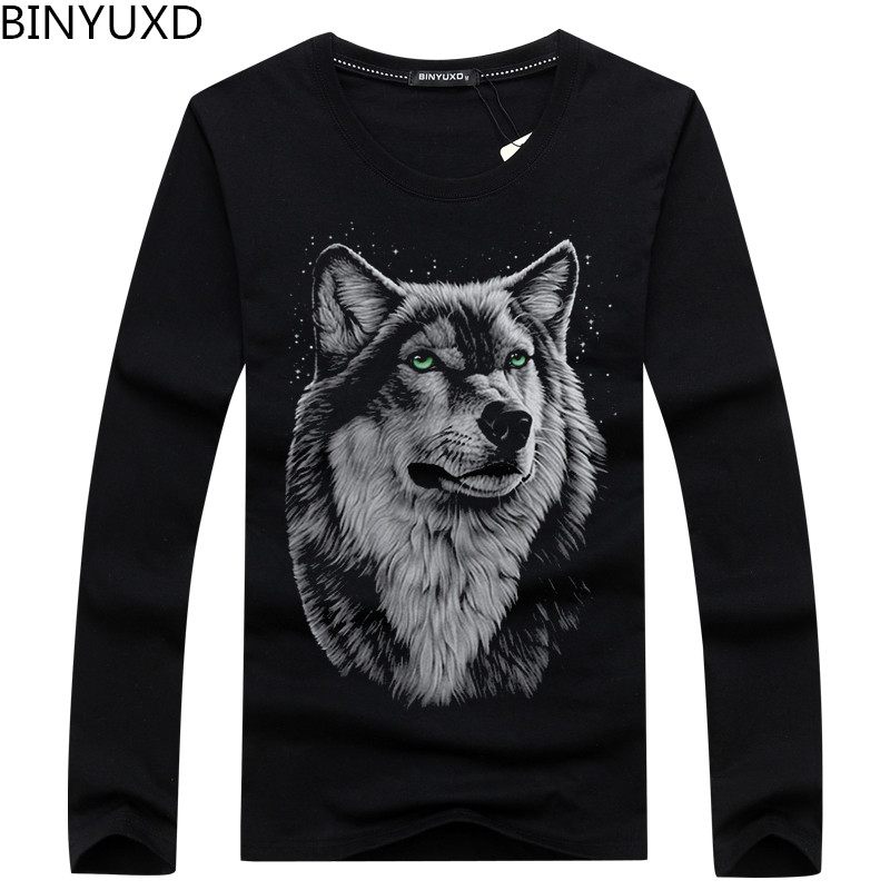 Hot sale Plus Size s-5XL Leisure autumn and winter cotton long sleeved male T-Shirt fashion brand men's t shirt wolf pattern