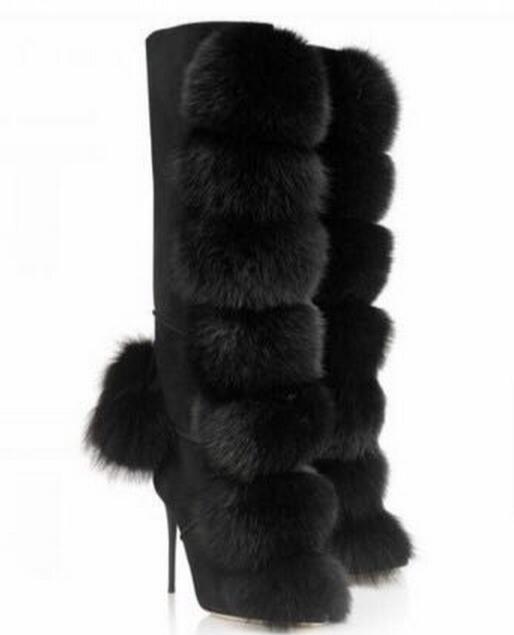 High quality mink hair decoration knee high boots stiletto heel size zip fur ball autumn winter snow boots sexy women boots