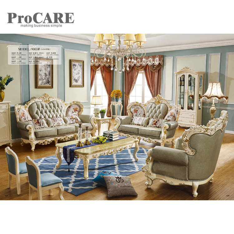 US $4199.0 |best selling modern antique leather wooden sofa frame from  ProCARE 9003-in Living Room Sets from Furniture on AliExpress