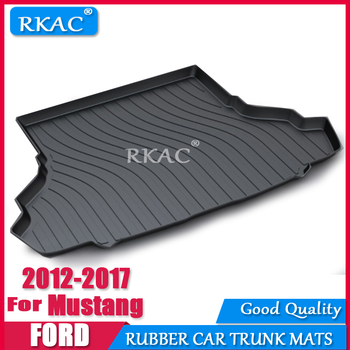 RKAC Car RUBBER Cargo rear trunk mat For Ford Mustang 2012 2-2017 Styling Boot Liner Tray Anti-slip Mat accessories WATERPROOF