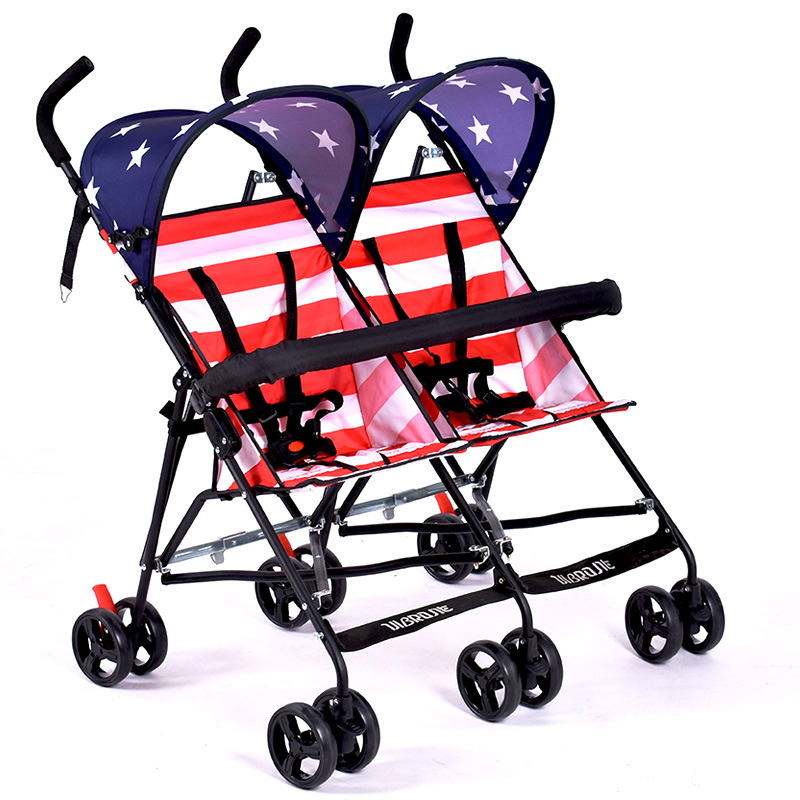 Twins baby stroller light folding umbrella baby double stroller shock absorber