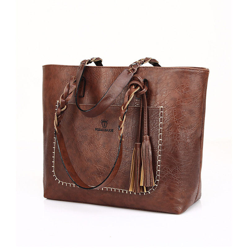 f0f50135ff Vintage Business Classic Women Handbag PU Leather Tassel Casual Totes Braid  Brown Burgundy Black Shoulder Bags Large Tote Bag -in Top-Handle Bags from  ...