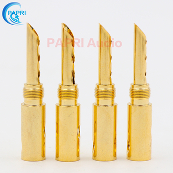 цена на 4PCS HiFi MPS Male Speaker Banana Plugs Pure Brass 24K Gold Plated Audio HIFI DIY Jack Connector Amplifier Speaker Connector
