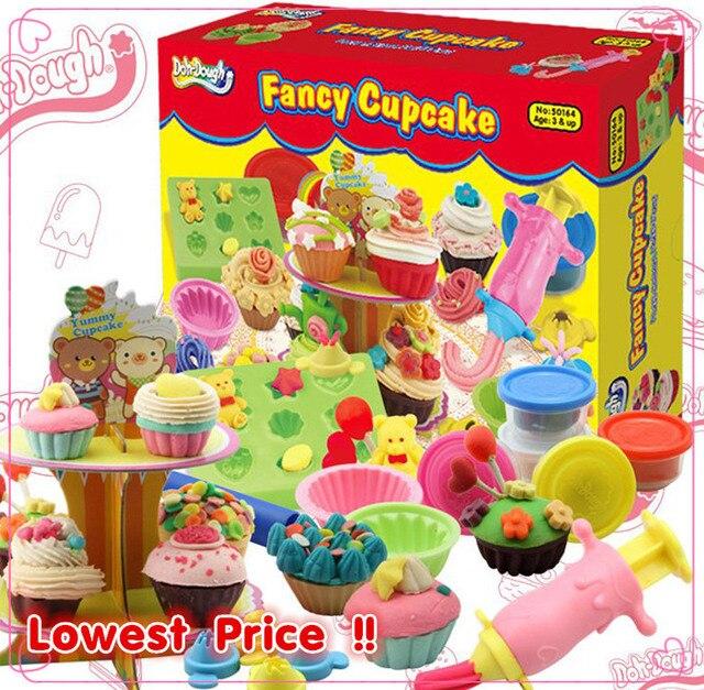 DOH-DOUGH FANCY CUPCAKE polymer clay handgum /3D Play Dough Plasticine 5 colors Multi-Tool mold kit