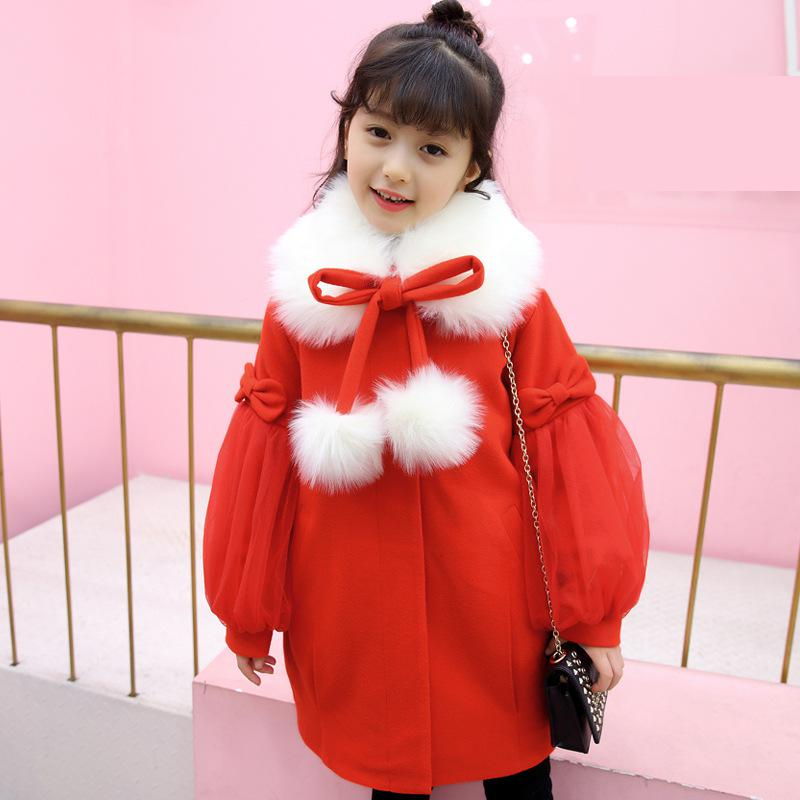 Thick Kids Clothes Baby Wool Coats for Girls 2018 New Winter Cotton Fur Collar Girl Wool Outwear Sweet Children Clothing 6wb019 yagenz 2017 new feather cotton coats winter korean version of the long section of the big hair collar loose thick cotton coat