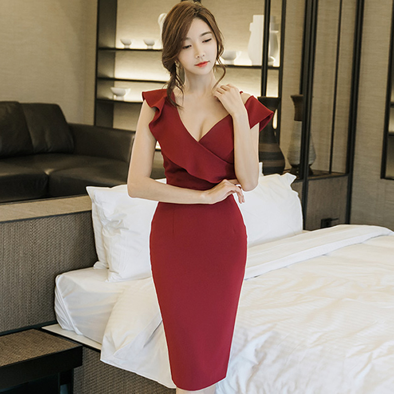 2018 Summer Sleeveless Ruffles Patchwork Solid Red Black Pencil Midi Party Cloth Bodycon Sexy V-Neck Dress