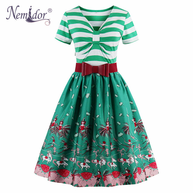 Nemidor 2018 Women 1950 Vintage Style Elegant V neck Plus Size Dress ...