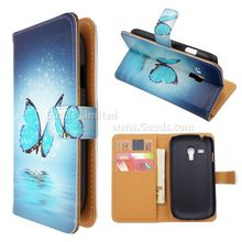 Blue Butterfly Leather Wallet Case for Samsung Galaxy S3 III Mini i8190 FREE SHIPPING
