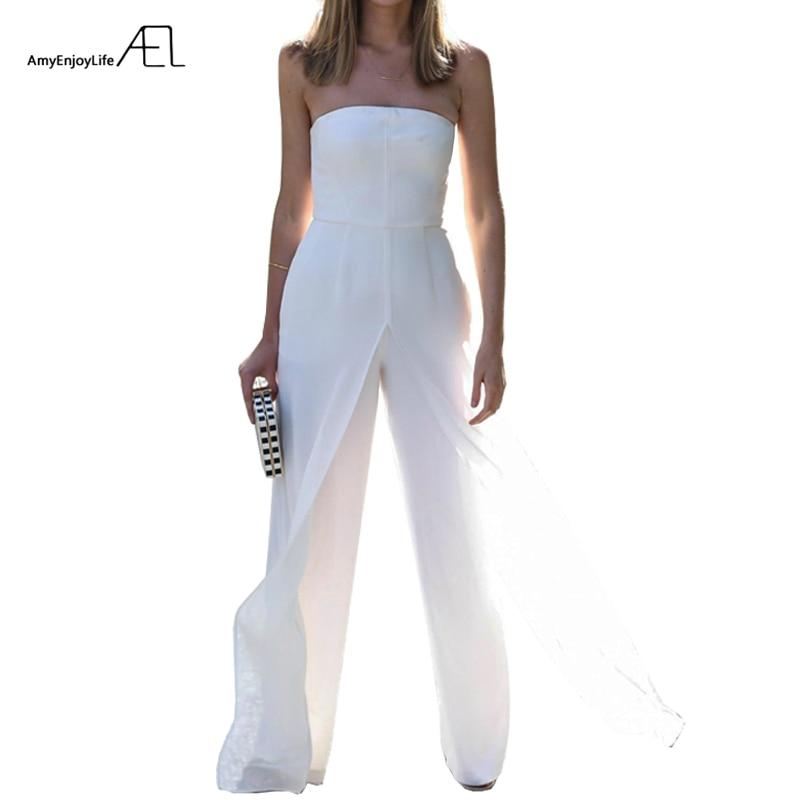 AEL Strapless Bra Chiffon Loose Wide Leg Jumpsuits 2017 Summer Ladies Elegant Slim Bodysuit Top Rompers