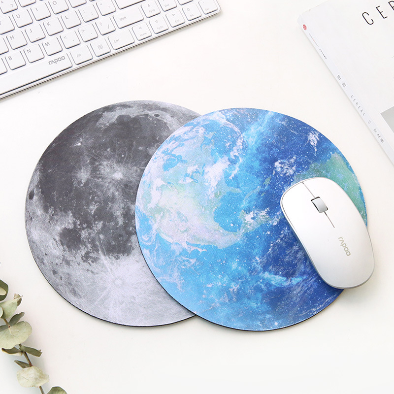 Planet Series Mat 220 x 220 x 3mm Circular Mouse Pad With Style Earth/Venus/Mars/Mercury/Jupiter/Pluto/Rainbow moon/Black moon