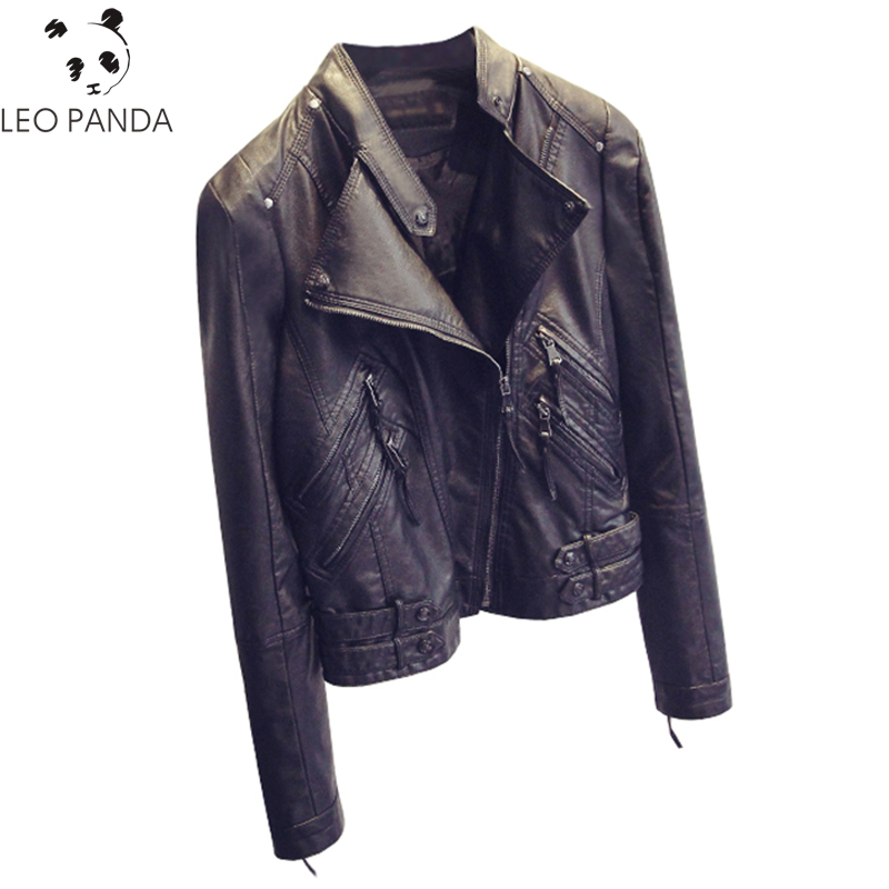 2019 Casual Long Sleeve Women Soft PU   Leather   Jacket Outerwear Winter Autumn Female Slim Faux   Leather   Coat Ladies Jacket S-XL