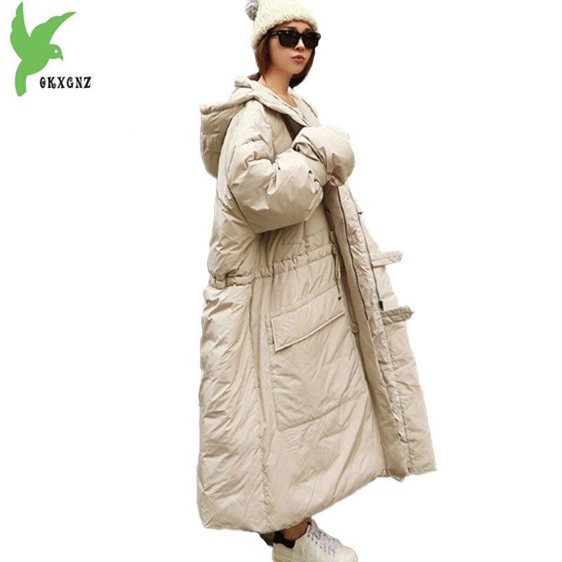 Супер большой размер парки Для женщин 2018 зимняя хлопковая куртка Удлиненное пальто свободные женские Большие размеры толстовки Топы толст