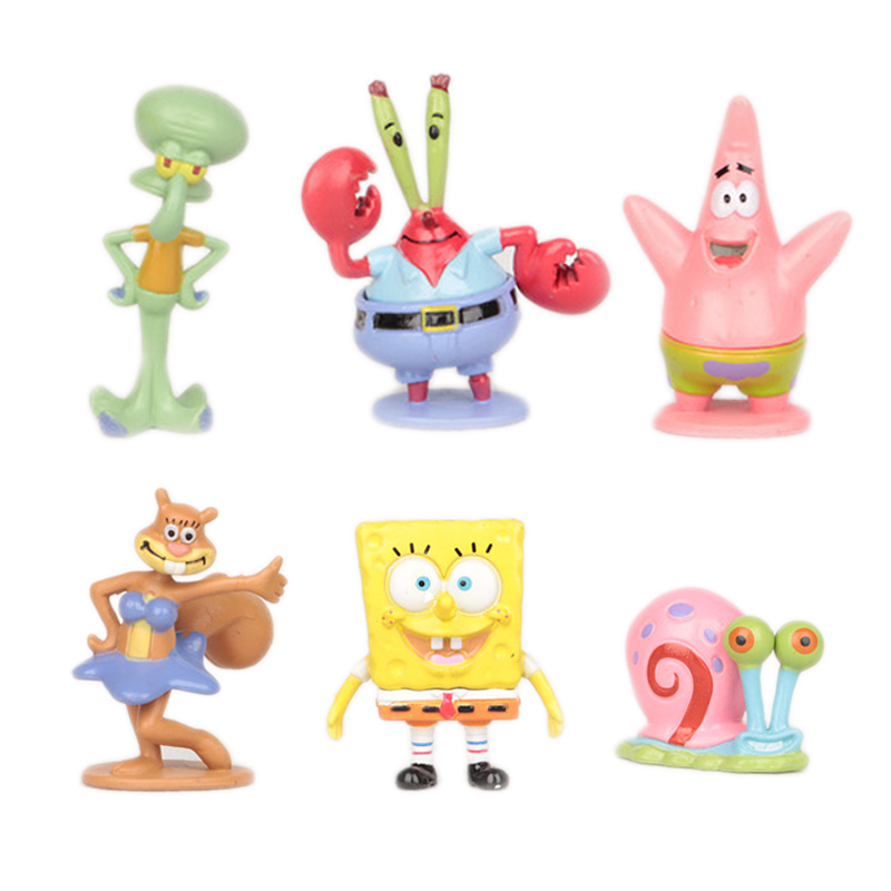 6pcs set Spongebob Bob Sponge Miniatures Action Figures Patrick Star Anime Figurines Collectibles PVC Sandy Dolls