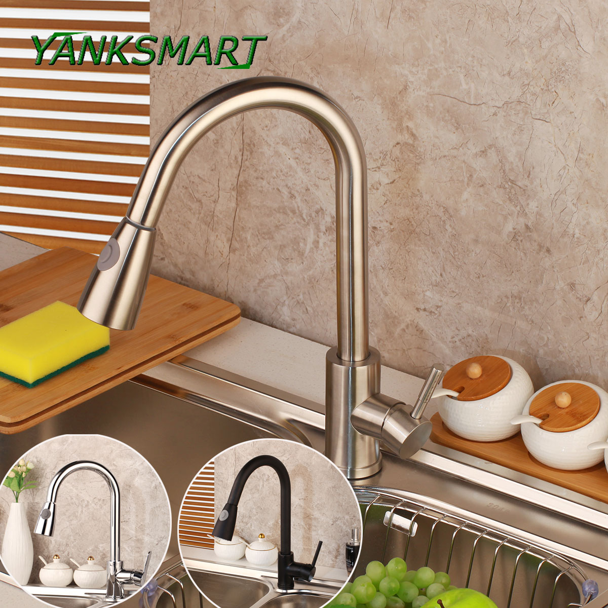 YANKSMART Brushed Nickel Kitchen Sink Mixer Taps Single Lever Pull Out Kitchen Faucet Dual Sprayer Functions Shower Head-in Kitchen Faucets from Home Improvement    1