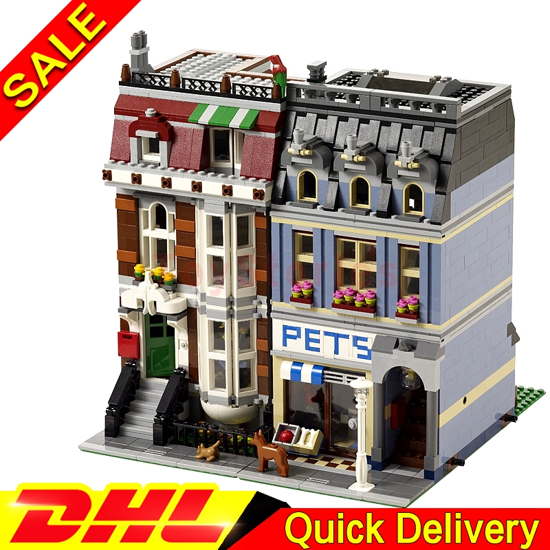 LEPIN 15009 2082PCS City Street Pet Shop Model Building Block Set Bricks Kits legoings toys Clone 10218 a toy a dream lepin 15008 2462pcs city street creator green grocer model building kits blocks bricks compatible 10185