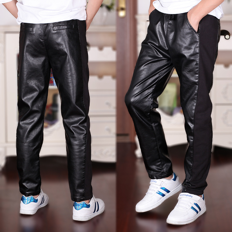 4 18T Boys Leather Pants 2019 New Children Boy Casual Patchwork Fashion Elastic Waist Boys Pants Black High Quality