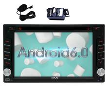 Backup Camera+ Upgrade Android 6.0 Car DVD Player Double 2Din Car Stereo with 2din GPS Navigation Auto Radio External Micro WiFi