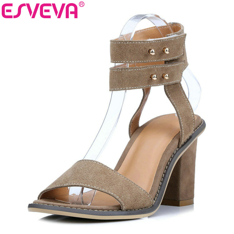 ESVEVA  2017 Ankle Strap Genuine Leather Sandals Square High Heels Sandals Summer Peep Toe Sandal Woman Wedding Shoes Size 34-39  summer newest woman sandal thin heels high heel shoes 2017 solid red leather ankle buckle strap sandals rivets studded shoes