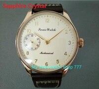 Sapphire Crystal 44mm PARNIS Butter yellow dial asian 6497/3600 Mechanical Hand Wind movement men's watch Mechanical watches 88a