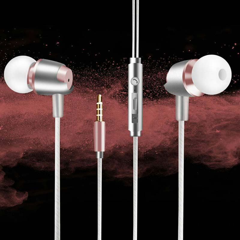 Hot In Ear Earphone 3.5MM Stereo In-ear Wired Headset HIFI Metal Earbuds With Mic for LG G6 G600K G600L G600S