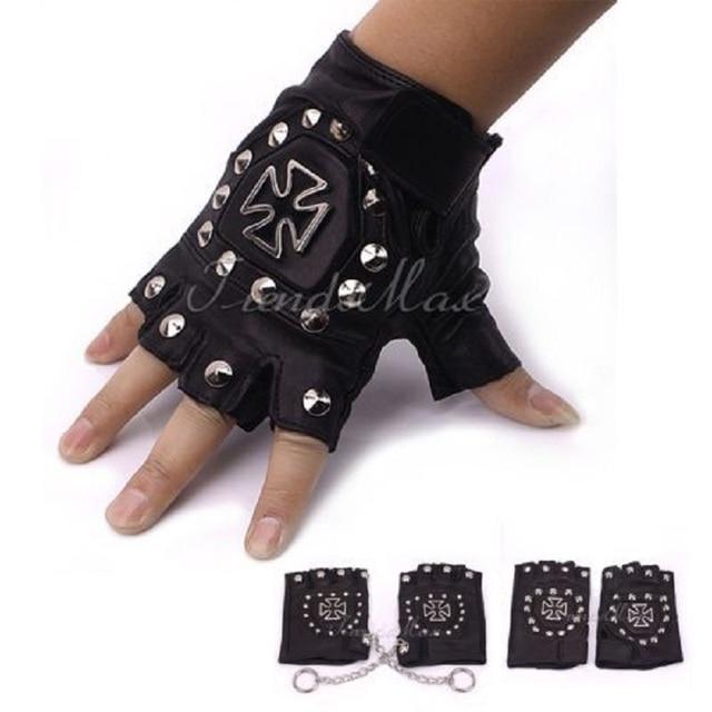 Hot Punk Mens Boys PU Leather Black Cross Nail DRIVING MOTORCYCLE Gloves(1 PAIR)