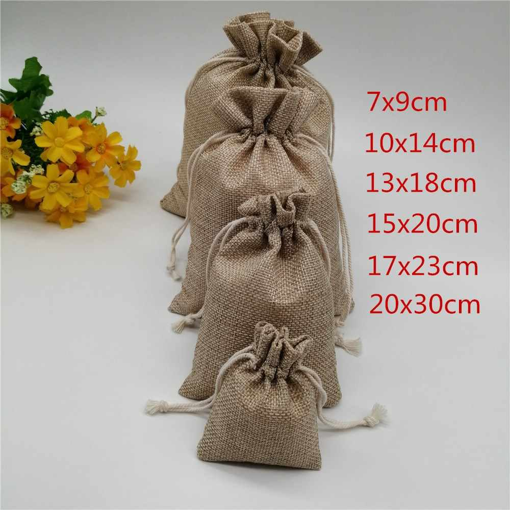 25pcs 6 sizes Linen Drawstring Gift Bags Natural Burlap Gift Candy Bag Wedding Party Favor Pouches Jute Jewelry Packaging Bags