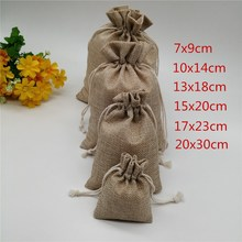 25pcs 6 sizes Linen Drawstring Gift Bags Natural Burlap Candy Bag Wedding Party Favor Pouches Jute Jewelry Packaging