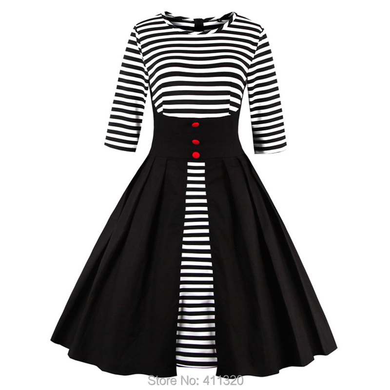 Womens Black and White Striped Dress 3