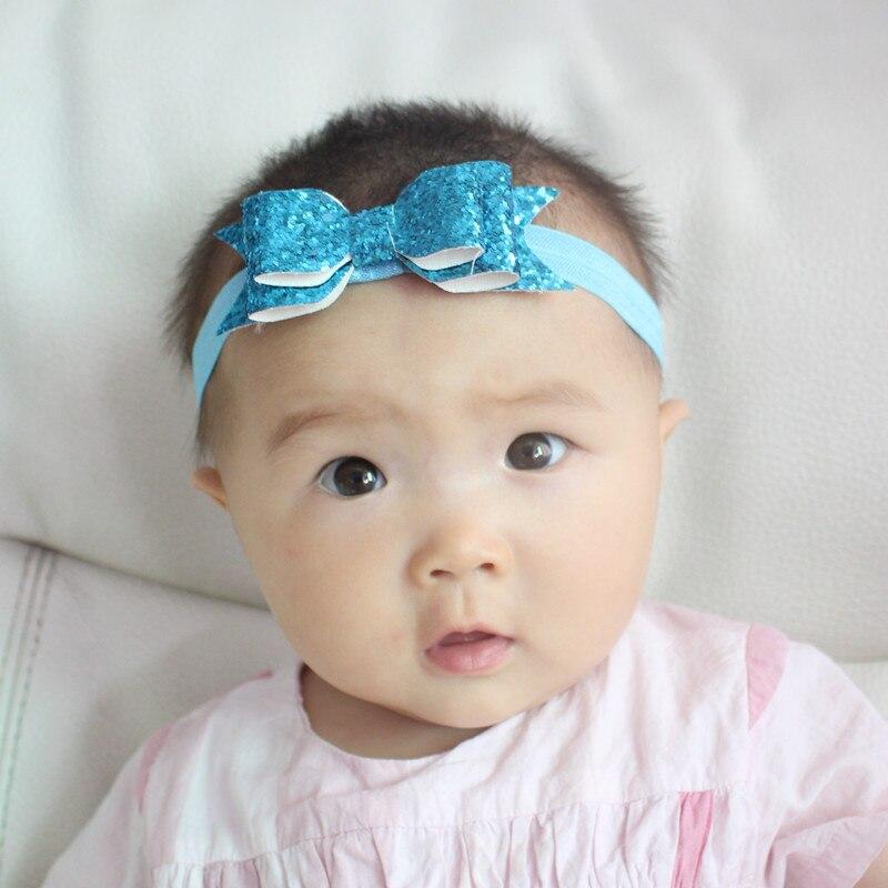 Для девочек милые блеск бантом ободки ручной слоистых блестящие лук удобной лентой головные уборы 13 Цветов Stretch резинками
