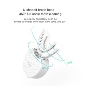 Image 4 - Akıllı 360 ° akıllı otomatik Sonic elektrikli diş fırçası USB şarj U tipi diş fırçası diş beyazlatma mavi işık yetişkinler için
