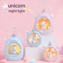 Dibujos Animados unicornio LED luz de noche bebé guardería lámparas Mesa luz decorativa niños juguetes Regalo de Cumpleaños Envío Directo