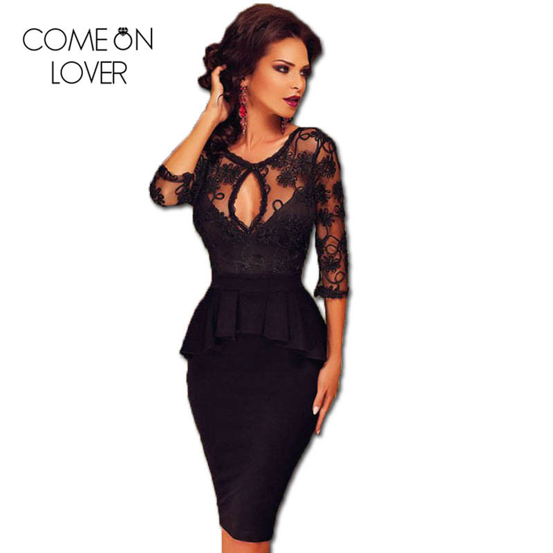 Aliexpress Com Buy Simple Elegant See Through Lace Part: RE80206 Three Quarter Sleeve Embroidery Black Dress Autumn