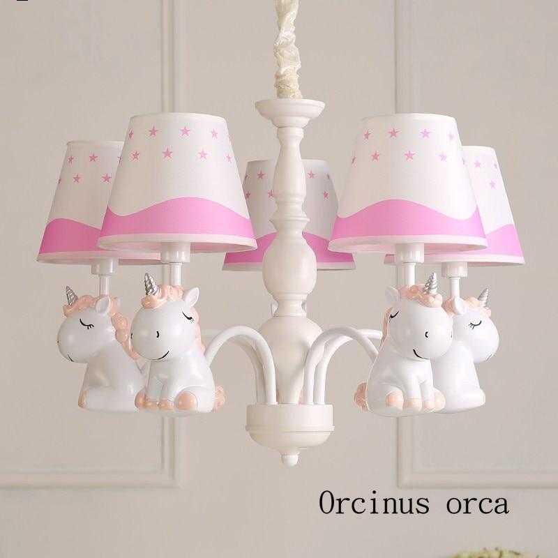Cartoon creation Pegasus chandelier boys girls bedroom children's room light Mediterranean Garden simple and lovely chandelier