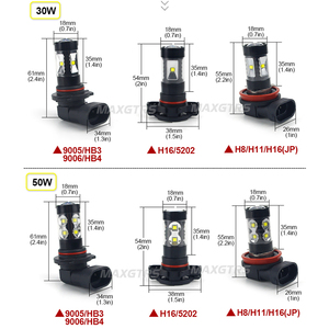 Image 2 - 2x H7 H8 H11 9005 9006 HB4 H16 30 W/50 W/80 W קרי שבבי LED רכב ערפל אור ערפל מנורת LED פנס בשעות היום Runing אור DRL 12 V