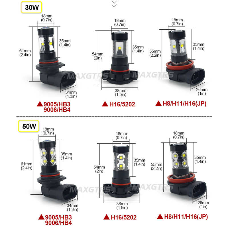 2x H7 H8 H11 9005 9006 HB4 H16 30W/50W/80W CREE Chips LED Car Fog Light Fog Lamp LED Headlight Daytime Runing Light DRL 12V