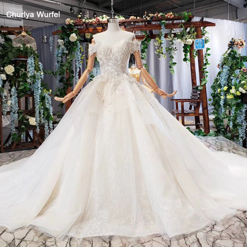 HTL581 Like white Wedding Dress with bow sequined off shoulder sweetheart lace up 2019 bridal gown with train vesrido de noiva