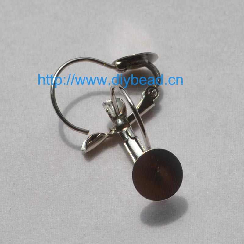 Acessórios diy peças, brinco ganchos com 8mm porão, ródio chapeado, cobre brinco componente, 4*1.5 cm