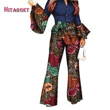 2019 African Print Women Pant Set V-Neck Speaker Sleeve Romper Wide Leg  Pants African Ladies Jumpsuits Rompers WY2772 f9c4e03678da