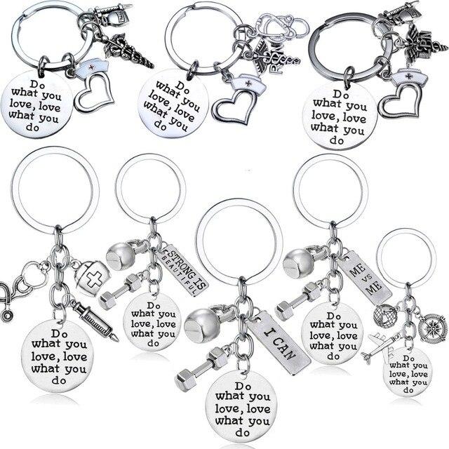 Do What You Love Love What You Do Keychain Key Ring Women Men Friends Doctor Nurse Friend Bodybuilding Keyring Key Chain Gift