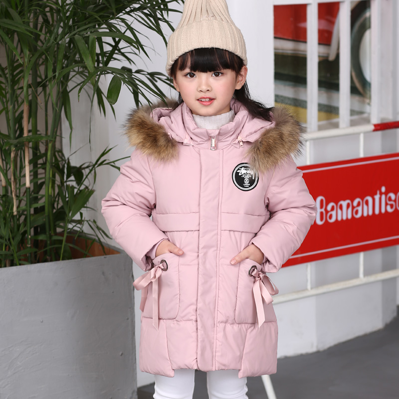 Children Down jacket  Kids Long Style Outdoor Windproof thickening Coat parka Child Outerwear for Girls Russian Winter -30 degr high quality children winter outerwear 2017 baby girls down coats jacket long style warm thickening kids outdoor snow proof coat