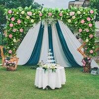 2 шт./лот 1.2 м x 1.2 м белый свадебный цветок стены с травой зеленый искусственный шелк цветок фон свадьбы реквизит