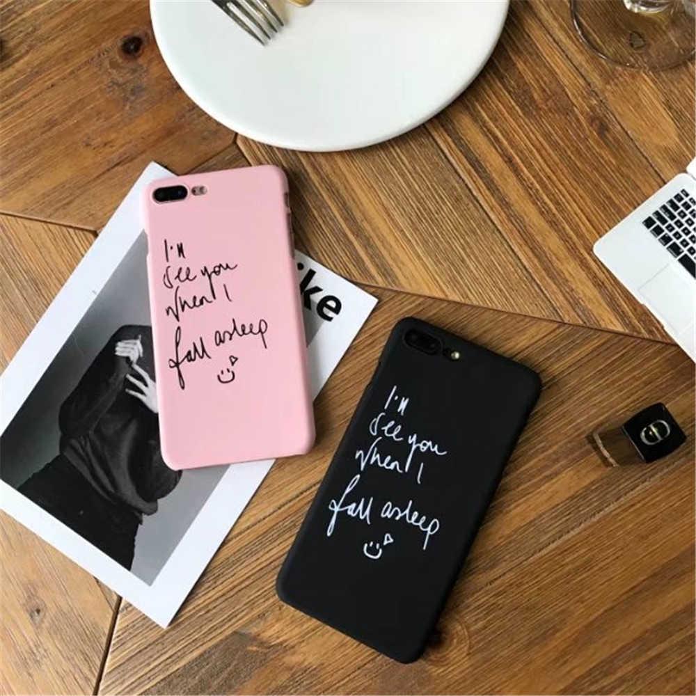 2018 אופנה כיסוי עבור iPhone7 6 s בתוספת עבור iPhone 6 6 s חמוד שחור ורוד צבעים כתיבה ציור קשה מקרה עבור iPhone 7 8 בתוספת
