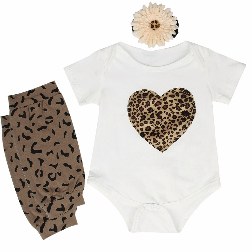 Newborn Baby Girls Clothes Fashion Babes Leopard Heart Short Sleeve Bodysuit + Leg Warmer +Headwear 3pcs Outfits Clothing Set