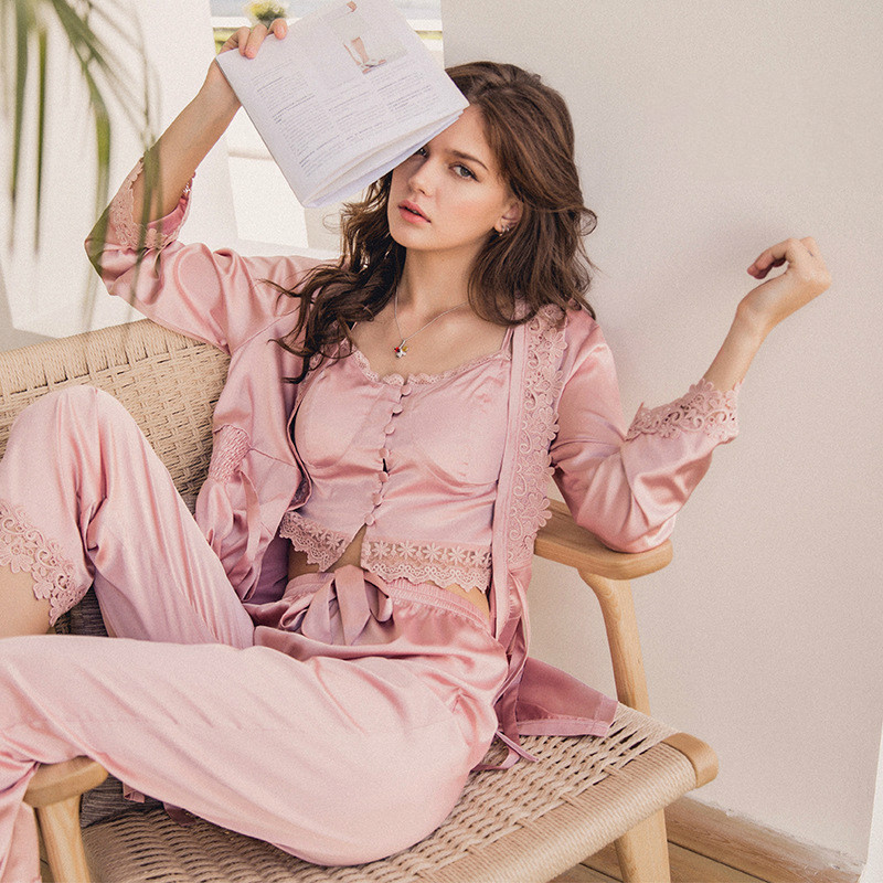 QWEEK 2019 New Satin Women   Pajama     Sets   4 Pieces   Sets   Women Sleepwear Sexy Lace Female Pijama Elegant Silk Pyjama Home Wear